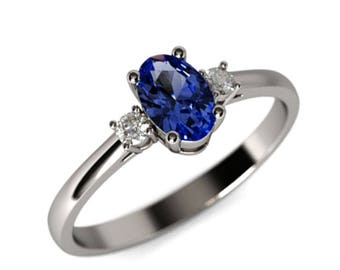 Sapphire Engagement Ring, Sapphire and Diamonds Engagement Ring, Oval Engagement Ring, 18K White Gold Ring