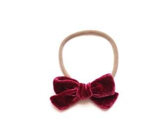 """Mini Velvet Bow in """"Raspberry"""" on Nylon Headband"""
