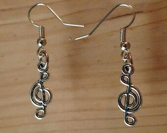 Stainless Steel Treble Clef Earrings