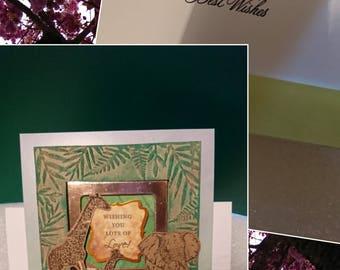 Elephant and giraffe birthday card