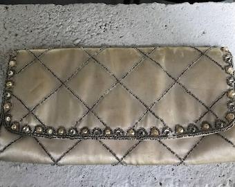Vintage Bejeweled Satin Clutch