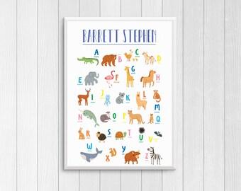 Personalized Animal Alphabet name print, 5 x 7, 8 x 10, 11 x 17 Custom nursery art, Nursery wall decor, Digital Download or Printed Poster