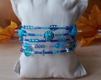 "Bracelet ""Oceano"", blue tones, 5 rounds. REF. 159"