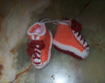 with laces orange crochet baby booties