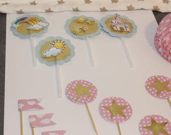 set of picks in cupcakes and cakes + molds polka Unicorn theme