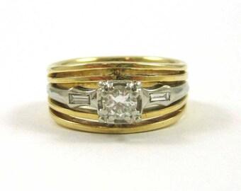 Diamond, Yellow and White 14K Gold Wedding Ring