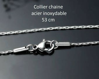 Necklace 53 cm silver color stainless steel chain