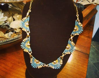 Tiffany JEWELLERY necklace VINTAGE color/teal on gilt metal
