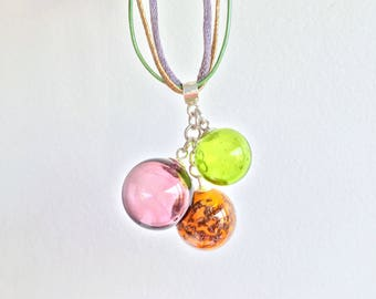 Blown and spun glass beads necklace 3: purple, green and mustard yellow. Sterling Silver 925
