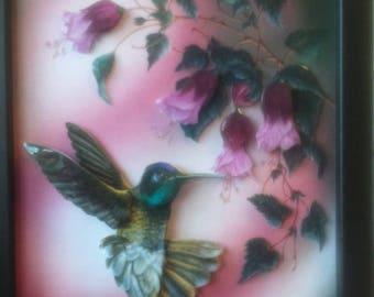 Picture 3 D pretty Hummingbird on flowers fuschia