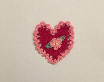 Red Crocheted Heart with Pink Trim