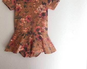 Mustard Floral Leotard - Autumn Leo Dress - Twirl Dress - Vintage Fall Leotard Dress - Girls/Toddler Leotard