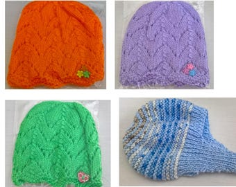 Handknit baby hats and helmets - various colours