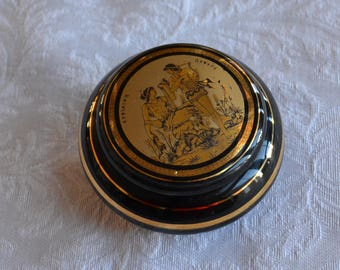 Black Ceramic Cosmetic Jar or Trinket Dish