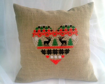 Christmas gift|for|her Holiday decor pillows Hand embroidered pillow cover Christmas pillow cases standard Deer pillow Heart pillow Antler