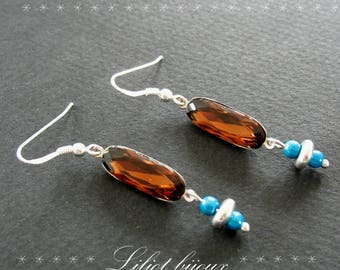 EARRINGS TURQUOISE AND BROWN