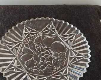 Vintage Federal Clear Glass Pioneer Serving Platter with Fruit Design