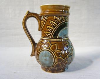 Vintage Ceramic jug Water jug Vintage jug Unique jug Milk jug Vintage kitchen Rustic jug Vintage pottery Dinnerware vintage Dining jug Vase