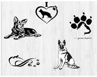 German Shepard SVG, Dogs svg, German Shepard cutfile svg, Love dogs, Service Dog, svg files for silhouette cameo, cricut explore, dxf file