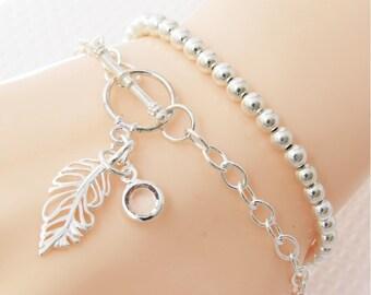 Set of 2 Sterling Silver Bracelets, Silver Feather Stacking Bracelet, Stack Bracelet, Remembrance Jewelry, Silver Layer Bracelet
