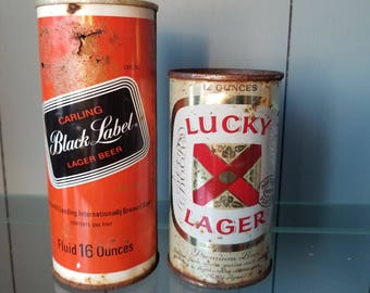 Black Label Beer and Lucky Lager Beer can