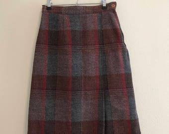 1970's Wool Red and Grey Plaid Pencil Skirt