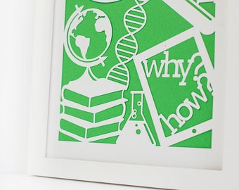 Papercut | Stay curious | Homeschool | Science Art | Gift for Godson | Science Gift | Neutral Gender Kids | Playroom Decor | Gender Neutral