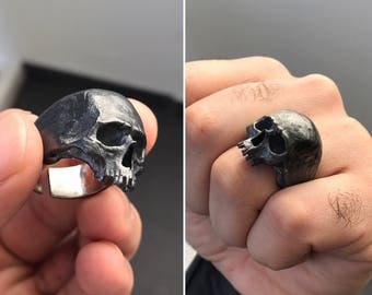 Silver Half Skull Ring with Rustic Finish