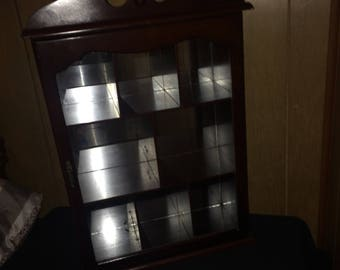 Home Decor Vintage Small Glass Curio Cabinet with 8 Compartments