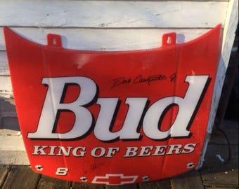 NASCAR Budweiser Beer Plastic Hood - signed by Dale Jr.