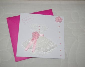 Pink and white wedding congratulation card