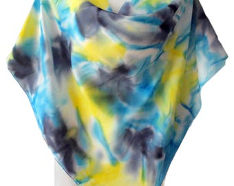 Silk scarf-Shawl-Natural silk Hand painted-Batik Hand painted Silk scarf-Mediterranean