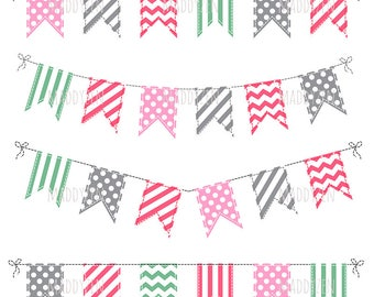 Flags, buntings clip-arts for cards and scrapbooking, vector and raster versions.