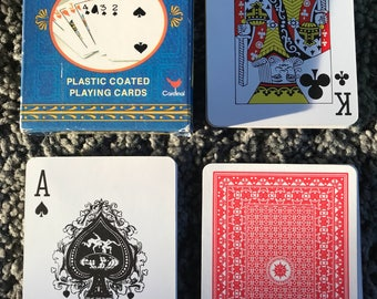 Unused Playing Cards playing cards deck plastic coated cardinal