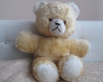 Teddy bear,Vintage teddy bear,Vintage toy,Stuffed teddy bear,Kids toy beige bear,Decoration for a nursery, Fun for kids,Plush bear,Plush toy