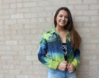 Cropped Moderately Distressed Dyed Michigan Alpha Phi Jacket