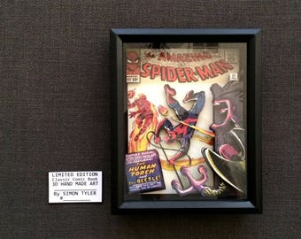 Amazing Spiderman 21 Silver Age Comic Book Cover Art in 3D Framed Limited Edition Numbered Signed