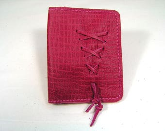Cowhide and lambskin leather card holder.