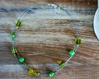 Neck wire glass beads and wire.