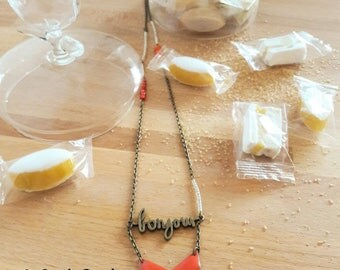 """Hello"" charm necklace"