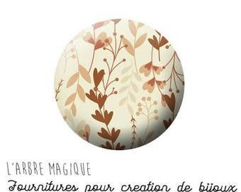 2 cabochons glue autumn leaf brown beige ref 1296 - 16 mm.