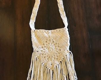 Off White Crochet Boho Handbag