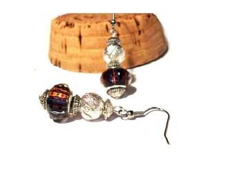 Earrings retro stripes patterned beads