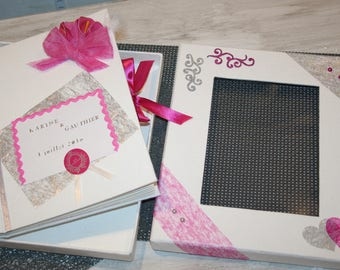 wedding white gray fuchsia lilies decorated pages envelopes cards personalized guestbook