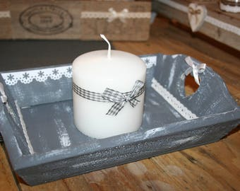 small shabby tray and its gray and white lace candle