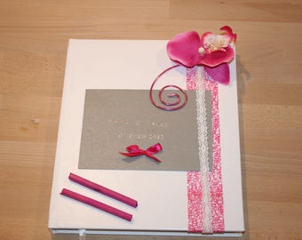 grey white wedding guest book and customizable orchid pink