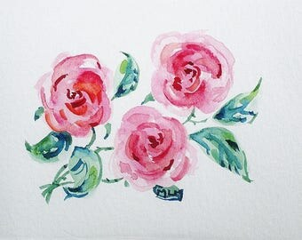Map Art, watercolor, painting, painting, flowers, bouquet, roses, red, gift, coaster