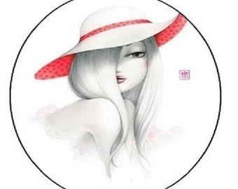 cabochon 18mm, hat, woman