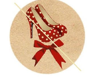 "shoe and bow, ""chic feminine"" cabochon, 20mm"