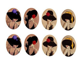 18x25mm cabochons women 4 pairs